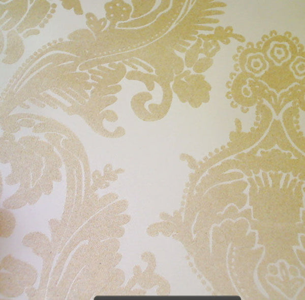 Gable Velvet Flocked Wallpapers - Beige on Cream