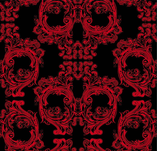 Noah's Baroque Skulls - Red on Black - Spooky! - Pattern Design
