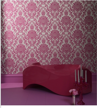 Stacy's Hot Pink Damask Wallpaper