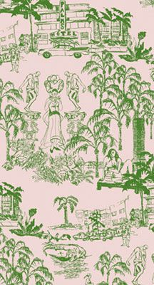 Miami Beach Beach Summer Toile Wallpaper