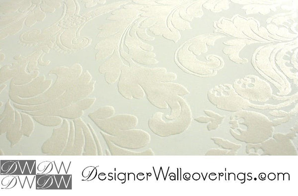 Boogie Nights Retro Flock Velvet Scroll Baroque Wallpaper