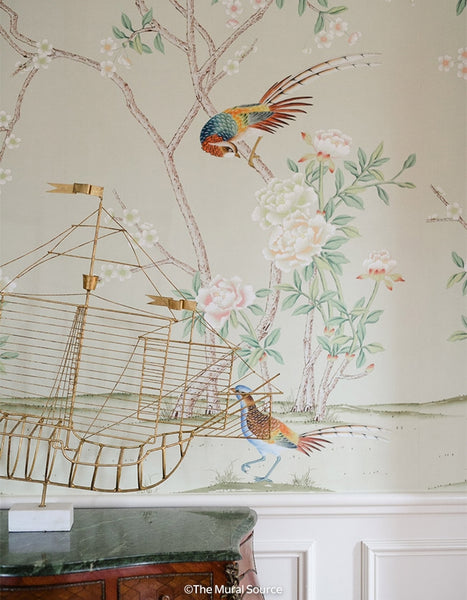 Bella Birds & Blossoms Green Grey by Et Cie Wall Panels - Designer Wallcoverings and Fabrics