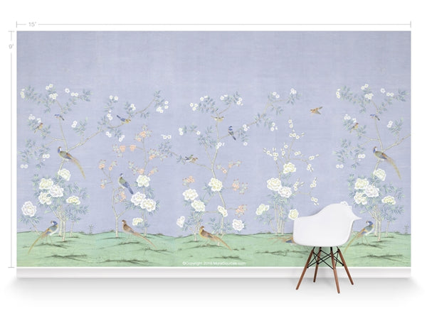 Bella Birds & Blossoms Light Lavendar by Et Cie Wall Panels - Designer Wallcoverings and Fabrics