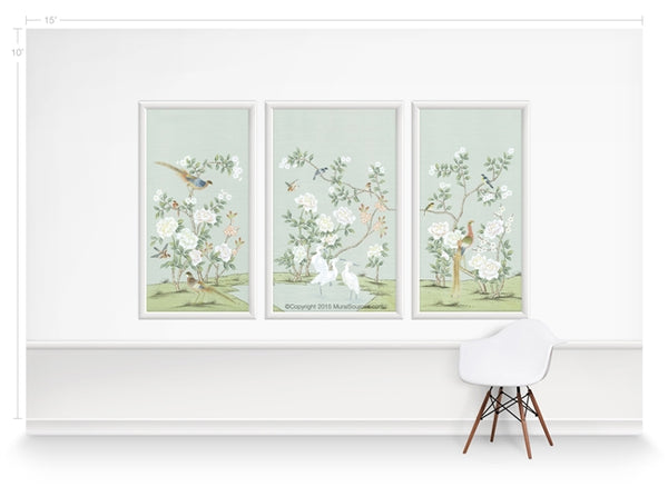 Bella Birds & Blossoms Mint Blue by Et Cie Wall Panels - Designer Wallcoverings and Fabrics
