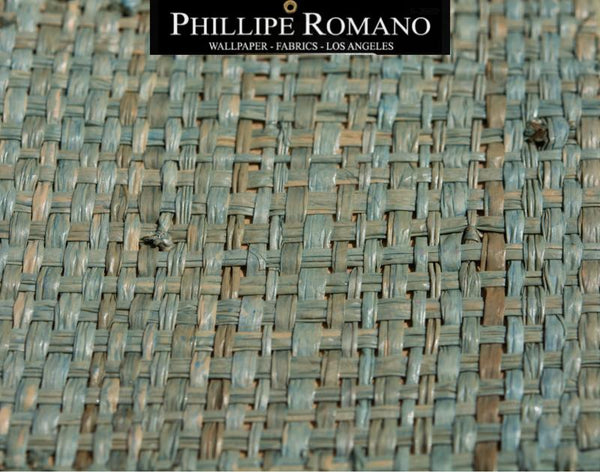 Heavy Madagascar Tropical Teal by Phillipe Romano Naturals Raffia Wallpaper - Milano Madagascar Collection