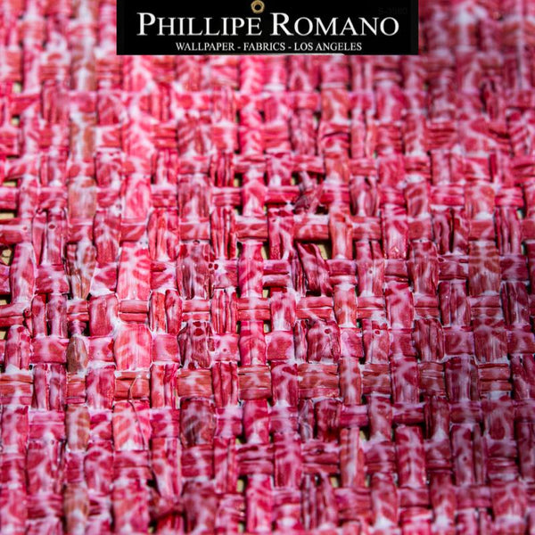 Heavy Madagascar Washed Cabana Red by Phillipe Romano Naturals Raffia Wallpaper - Milano Madagascar Collection