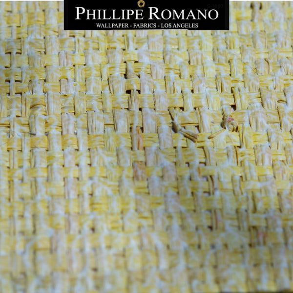 Heavy Madagascar Washed Yacht Yellow by Phillipe Romano Naturals Raffia Wallpaper - Milano Madagascar Collection