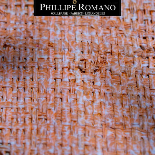Heavy Madagascar Washed Oscar Orange by Phillipe Romano Naturals Raffia Wallpaper - Milano Madagascar Collection