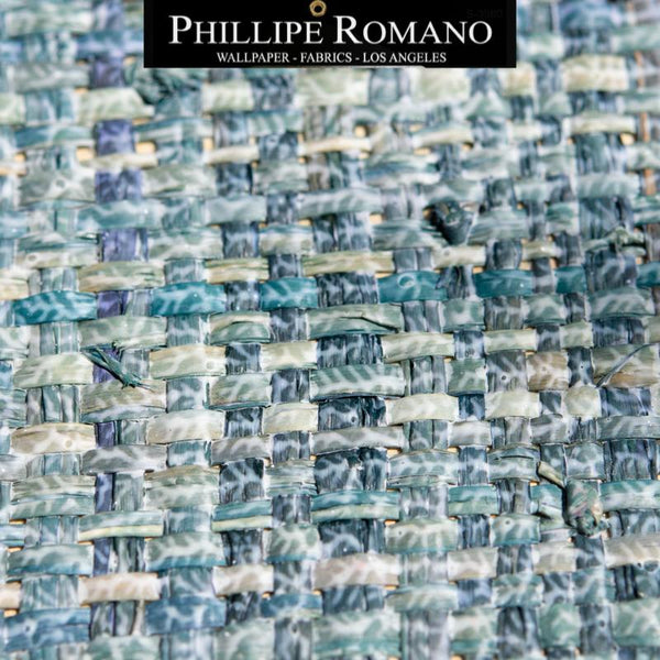 Heavy Madagascar Washed Blue Wave by Phillipe Romano Naturals Raffia Wallpaper - Milano Madagascar Collection