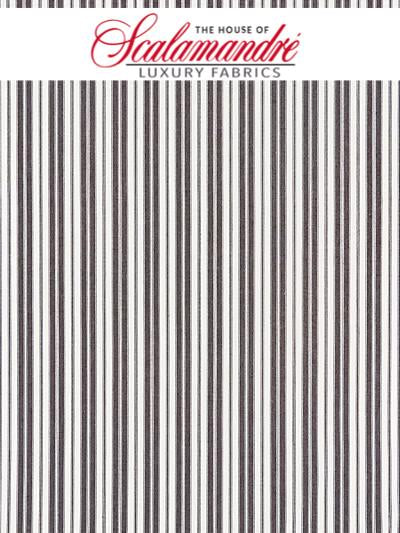 DEVON TICKING STRIPE - CHARCOAL - FABRIC - 27115-005 at Designer Wallcoverings and Fabrics, Your online resource since 2007