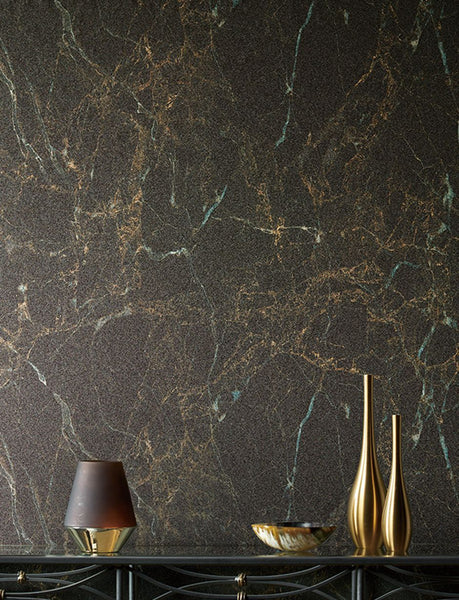 Glambeads Graphite Marble Glass Bead Wallpaper - Designer Wallcoverings and Fabrics