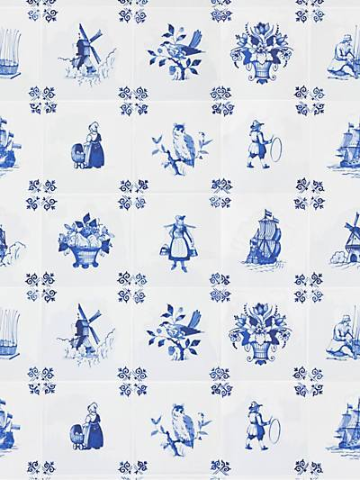 TILE PLAY - BLUE - NICOLETTE MAYER WALLPAPER - WNM0001TILE at Designer Wallcoverings and Fabrics, Your online resource since 2007