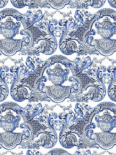 WILLIAM & MARY - BLUE - NICOLETTE MAYER WALLPAPER - WNM0002WMMY at Designer Wallcoverings and Fabrics, Your online resource since 2007