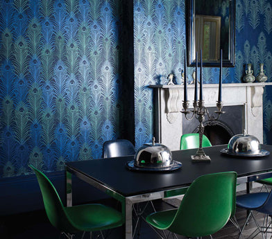 Pippy's Peacock Wallpaper - Silver Room Setting