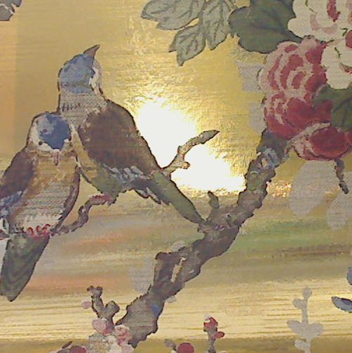 Zuberista Wallpapeon Shiny Mylar- Floral  & Birds on Gold Mylarr