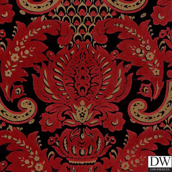 Victorian Flocked Velvet Wallpaper - Red Flock on gold/black 2