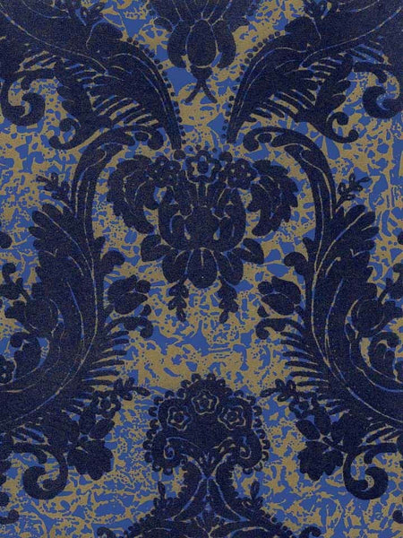 Victorian Flocked Velvet Wallpaper - Blue on Gold/Blue