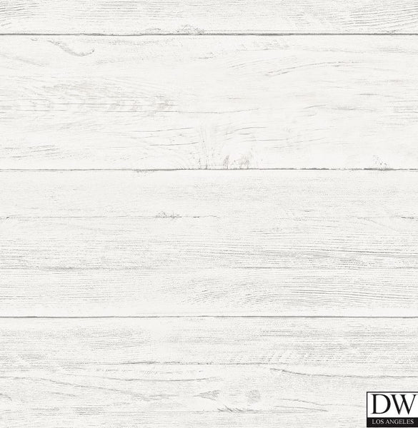 White Washed Boards Cream Shiplap Wallpaper