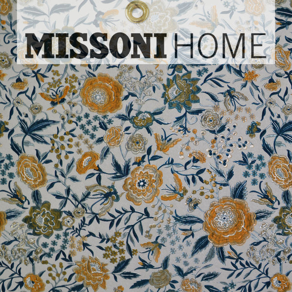 Missoni Home Oriental Garden Wallpaper - Silver/Peacock/Saffron