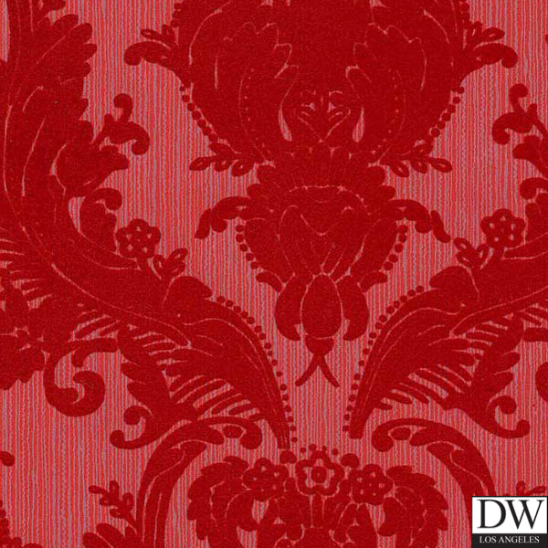 Victorian Flocked Velvet Wallpaper - Red on Red/Gray