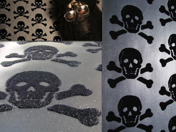 Skully - Skull Black Velvet Flock on Gun Metal