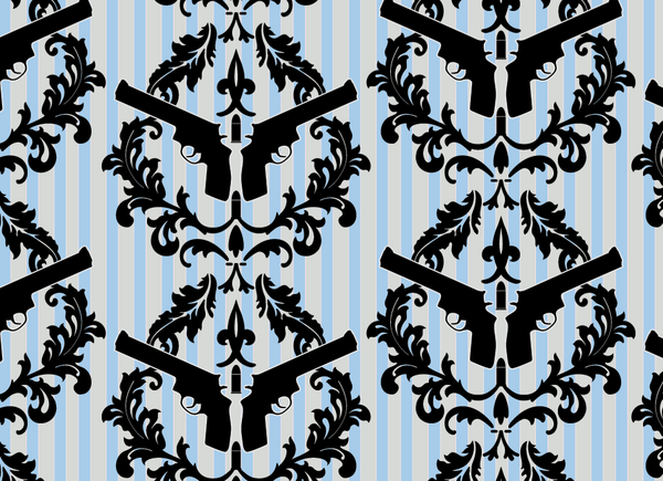 Thug Stripe - Blue and Cream Gun Wall Paper - Pattern Design Lab