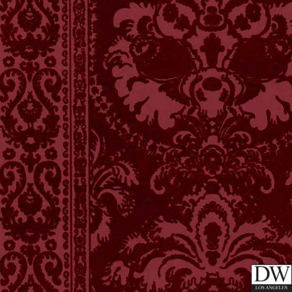 Victorian Flocked Velvet Wallpaper - Tone on Tone Burgundy