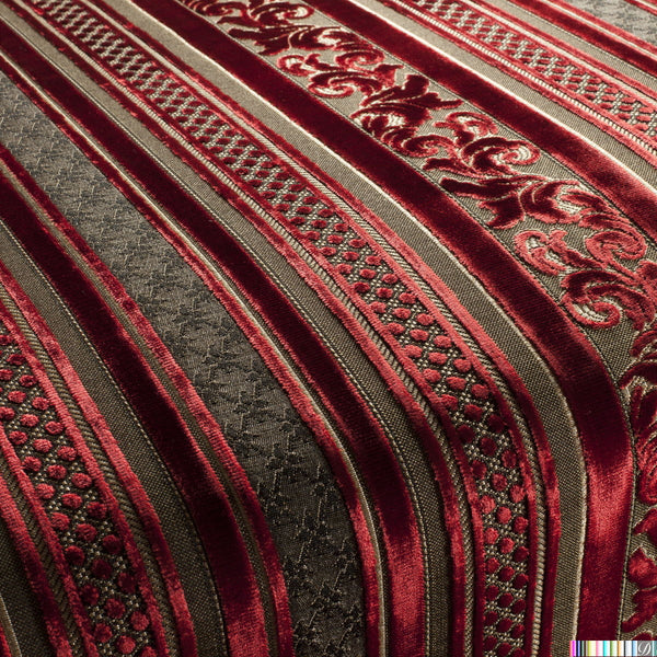 Sicilia Baroque Cut Velvet Stripe