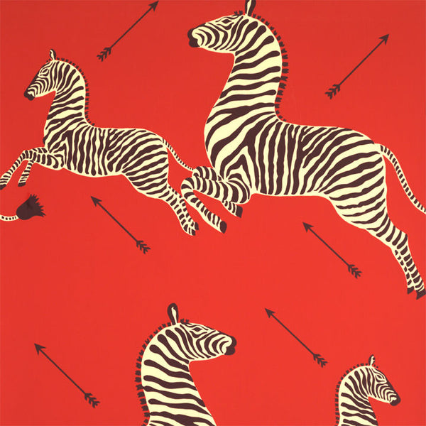 Zoe's Zebra Wallpaper - Red and Black BY SCALAMANDRE