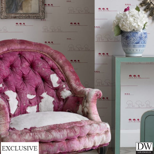 Cranberry Ostrich Wallpaper (Room Setting)