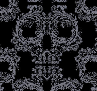 "Skull Damask - Version 1.0A - 15"" Horiz Repeat - Pattern Design"