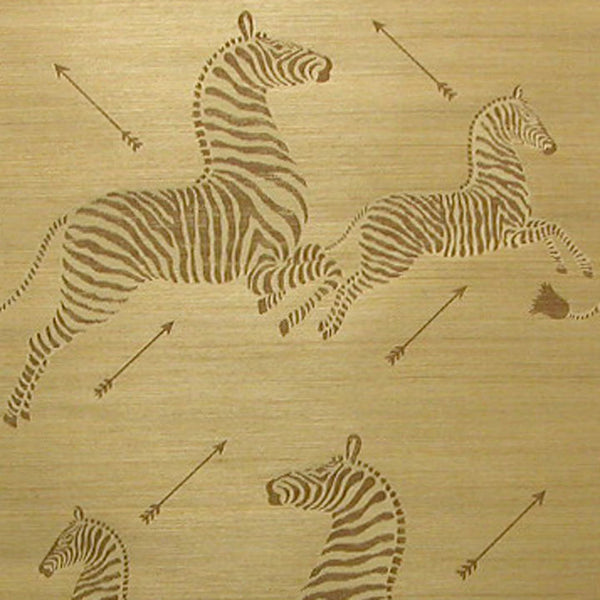 Zoe's Zebra Wallpaper Grasscloth - Gold Natural BY SCALAMANDRE