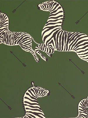 Zoe's Zebra Wallpaper - Green by Scalamandre