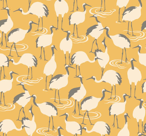 Spring Cranes Wallpaper - Yellows