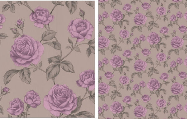 Rosalie Rose Wallpaper - Pink,Mocha,Lilac