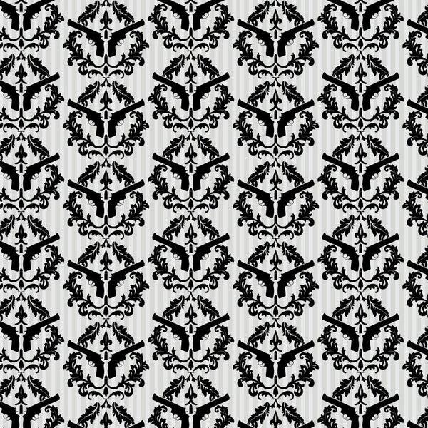 Thug Stripe - Black and White Gun Wall Paper - Pattern Design La