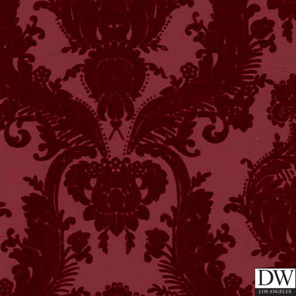 Victorian Flocked Velvet Wallpaper - Tone on Tone Burgundy 2