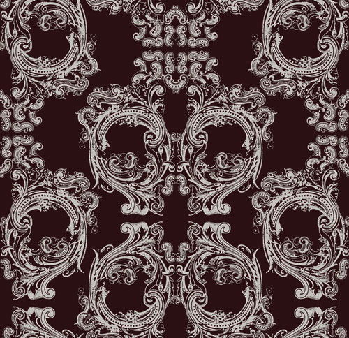 "Skull Damask -  10"" Repeat - Dark Brown and White - Pattern Desi"