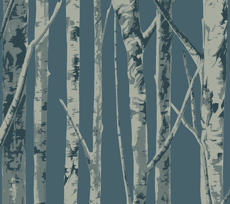Bella Birch Trees - Blue and Grey
