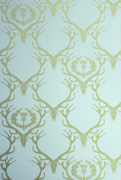 Deer Damask - Whimsical DamaskDuck Egg Blue
