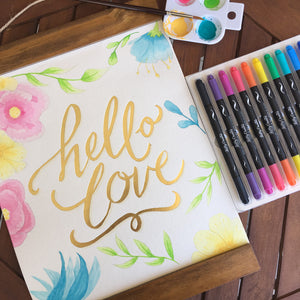 Cuadro acuarelable Hello Love y plumones Kelly Creates