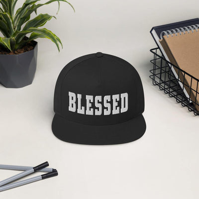 Blessed Flat Bill Cap - black on table