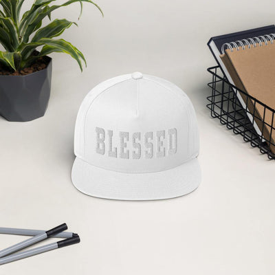 Blessed Flat Bill Cap - white cap on table
