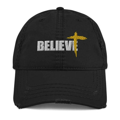 Believe Distressed Dad Baseball Cap Hat - front