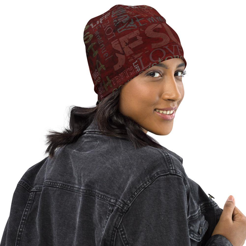 Jesus Inspirational All-Over Print Beanie - side view
