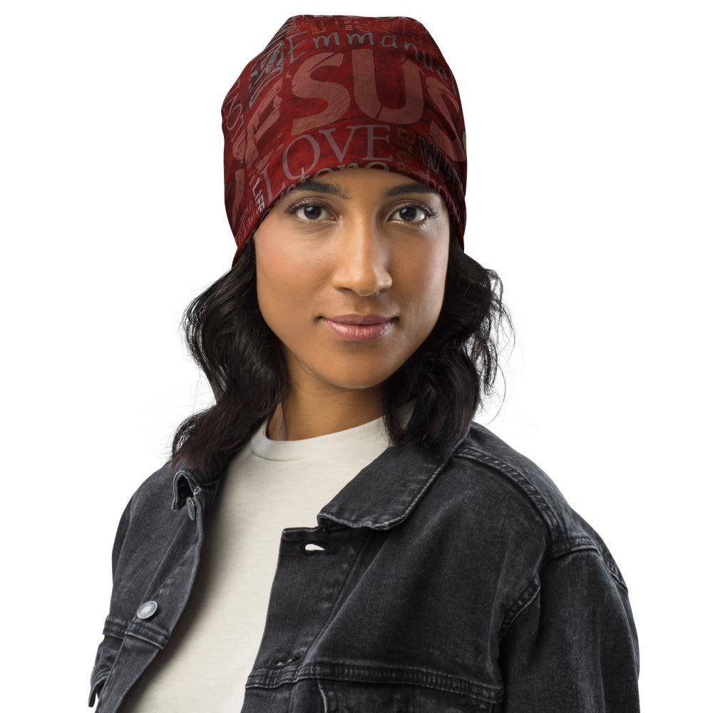 Jesus Inspirational All-Over Print Beanie - front view