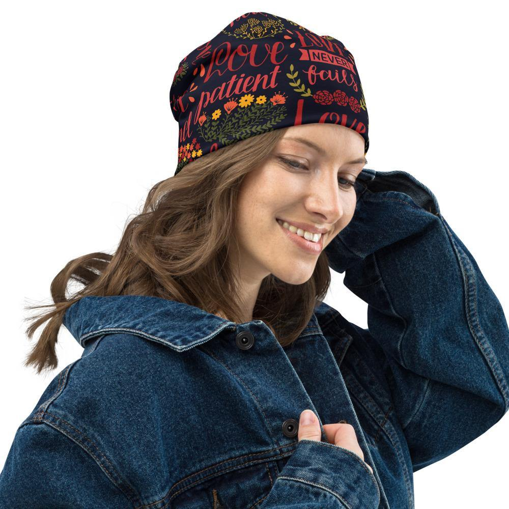 Love Never Fails All-Over Print Beanie - EnoughSaid