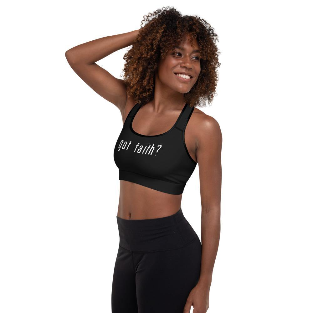 Got Faith Padded Sports Bra Women Sport Bra - profile hand on head