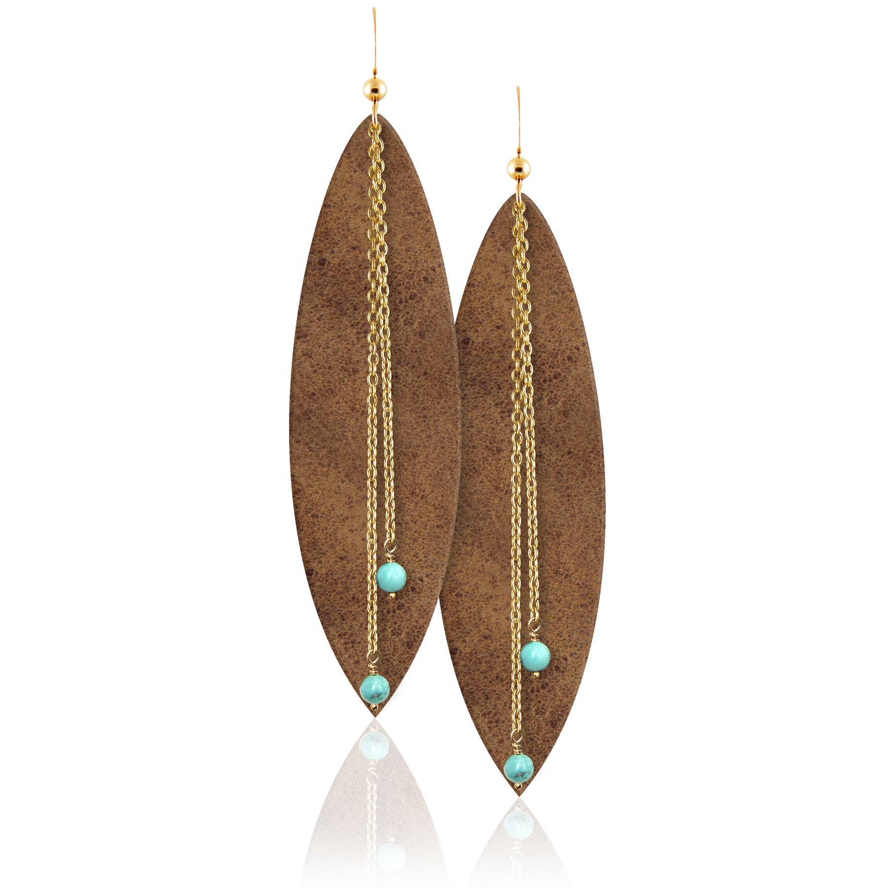 gemstone leather earrings