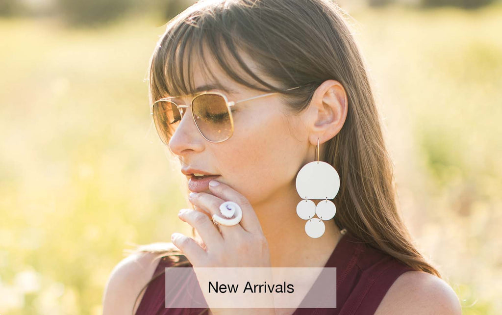 Aha Crafted new arrivals. Shop our selection of gold, leather and gemstone earrings.